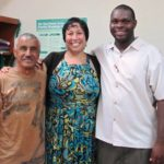 Trainer Angel Martinez, with Program Manager Josie Ramos and Trainer Anson Brackett at the Launch for GOJoven Belize