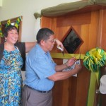 GOJoven Belize Program Manager Josie Ramos and Mayor of Belmopan participate in Ribbon Cutting