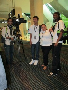 GOJoven fellows interact with media at Women Deliver 2013 (click to enlarge)