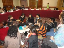 Getting down to work:  Participants review the CAIRO+20 resolution  (Click to enlarge)