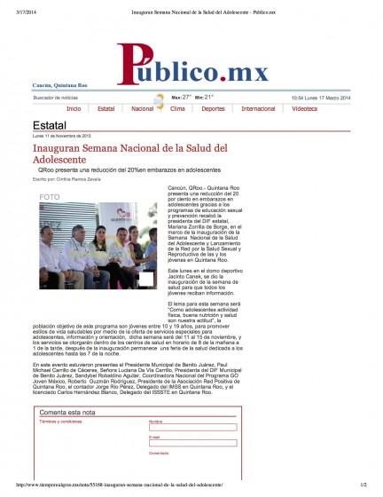 Inauguran Semana Nacional de la Salud del Adolescente - Publico