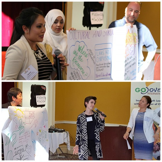 World Café facilitators from YCI, GOJoven, FACES and YTH share mind-mapping outcomes from discussions on teen dating violence and gender stereotypes, and cultural and structural barriers that youth face in accessing sexual and reproductive health care.