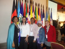 Nancy Leiva (right) and the Belize delegates, from civil society and the government (click to enlarge)