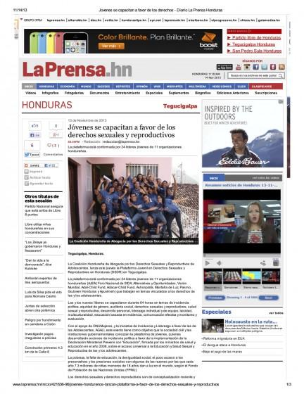 Honduras — Jóvenes se capacitan a favor de los derechos sexuales y reproductivos (Spanish)