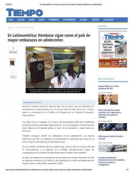 Honduras — En Latinoamérica: Honduras sigue como el país de mayor embarazos en adolescentes (Spanish)