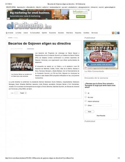 Becarios de Gojoven eligen su directiva - El Ceibeno