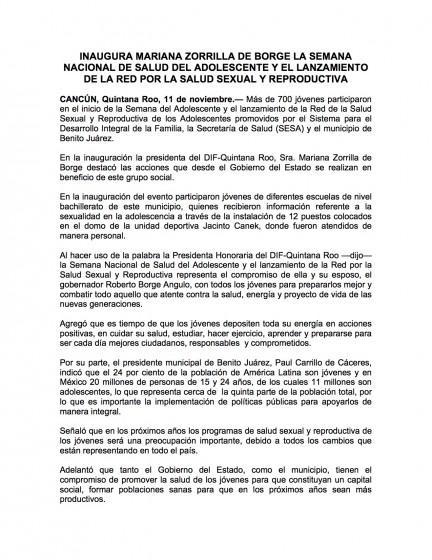 Mexico — Inaugura Mariana Zorilla de Borge La Semana Nacional de Salud del Adolescente y el Lanzamineto de la Red Por la Salud Sexual y Reproductiva (Spanish)