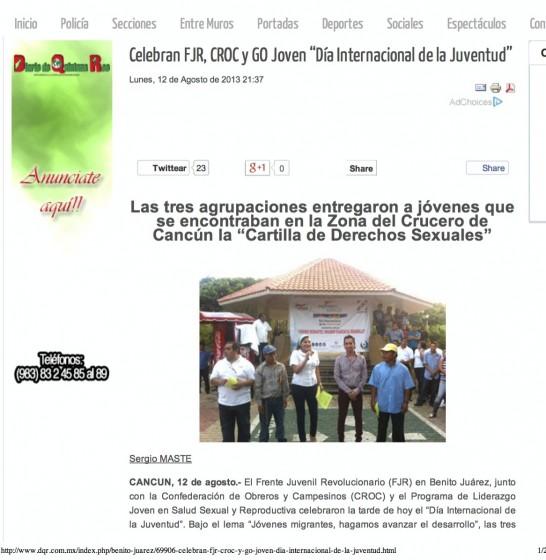 """Celebran FJR, CROC y GO Joven """"Día Internacional de la Juventud"""""""