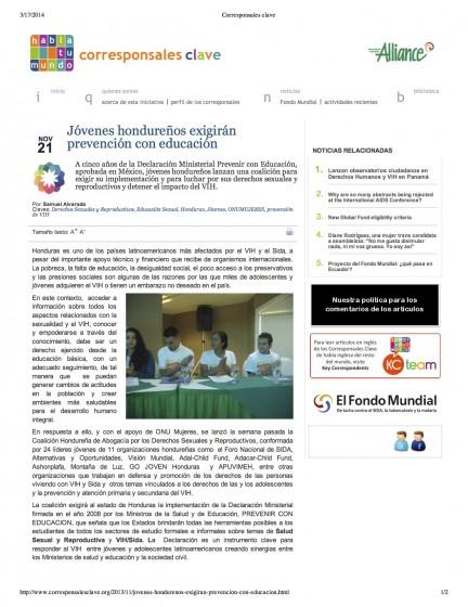 Honduras — Jóvenes hondureños exigirán prevención con educación (Spanish)