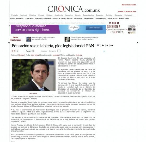La Crónica de Hoy _ Educación sexual abierta, pide legislador del PAN