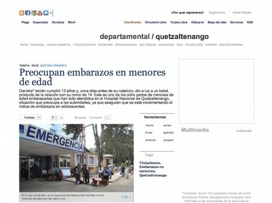 Guatemala — Preocupan embarazos en menores de edad (Spanish)