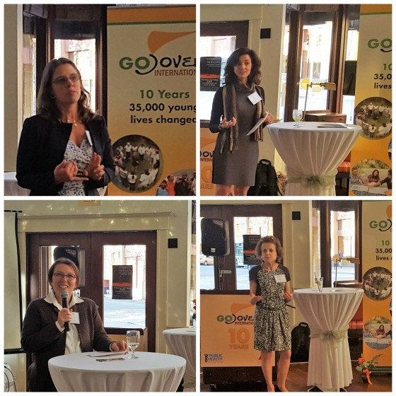 PHI Leaders Mary Pittman, CEO, and Claire Brindis, Board Member, join Esther Tahrir, GOJoven International's Founder and Director, and Summit Foundation Program Director Kathy Hall in sharing words of recognition at the 10th Anniversary Fiesta.